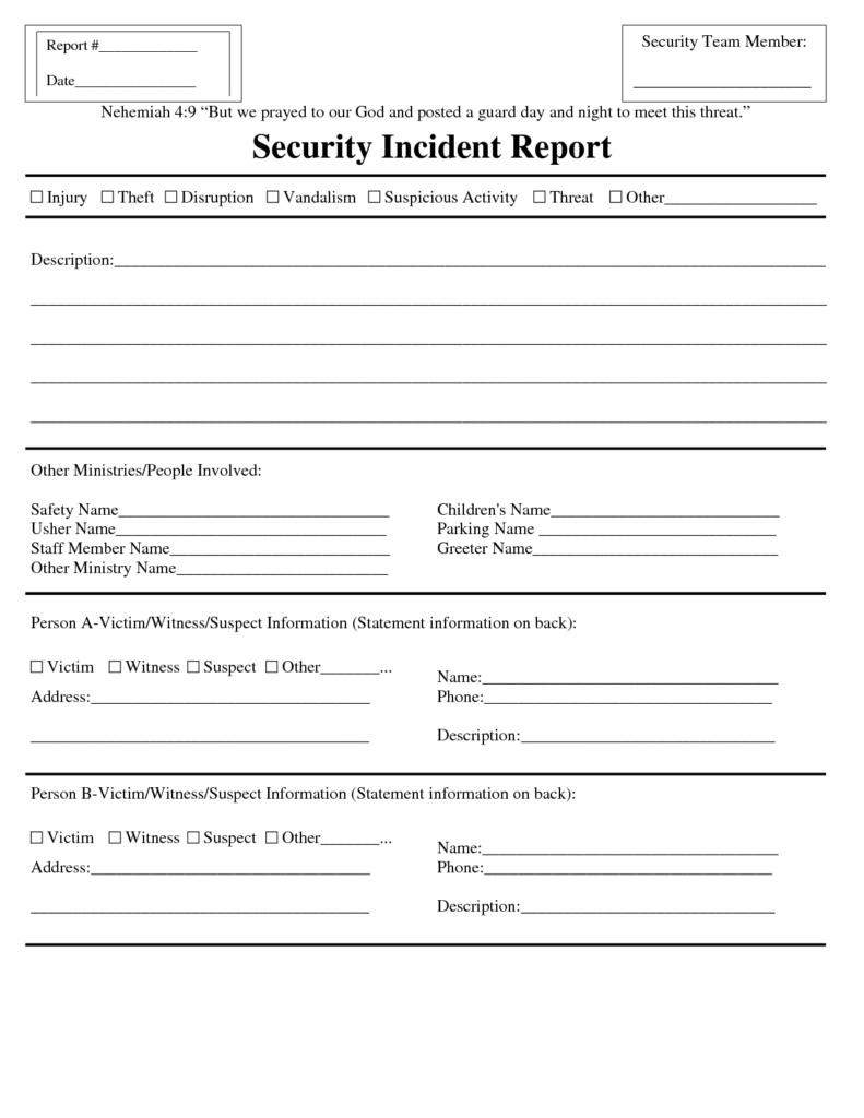 Security Incident Report Template Pdf and Blank Security Incident Report Template Sample Helloalive
