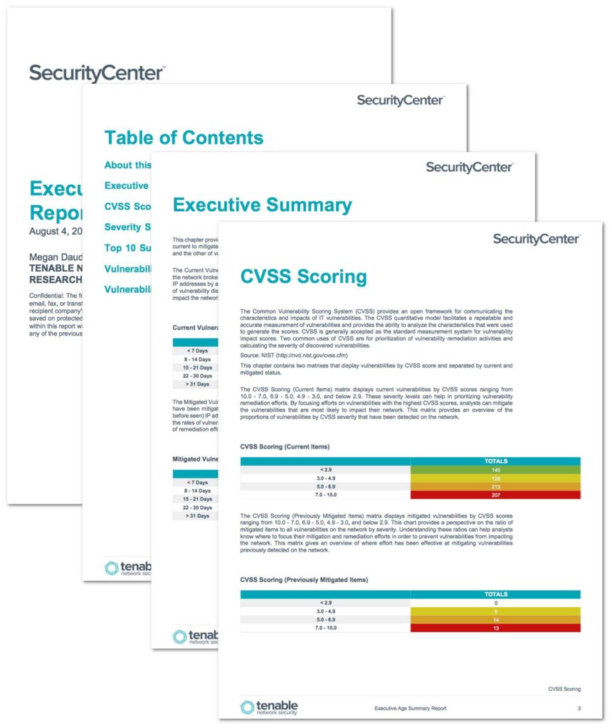 Security Report Example and Executive Age Summary Report Sc Report Template Tenableâ