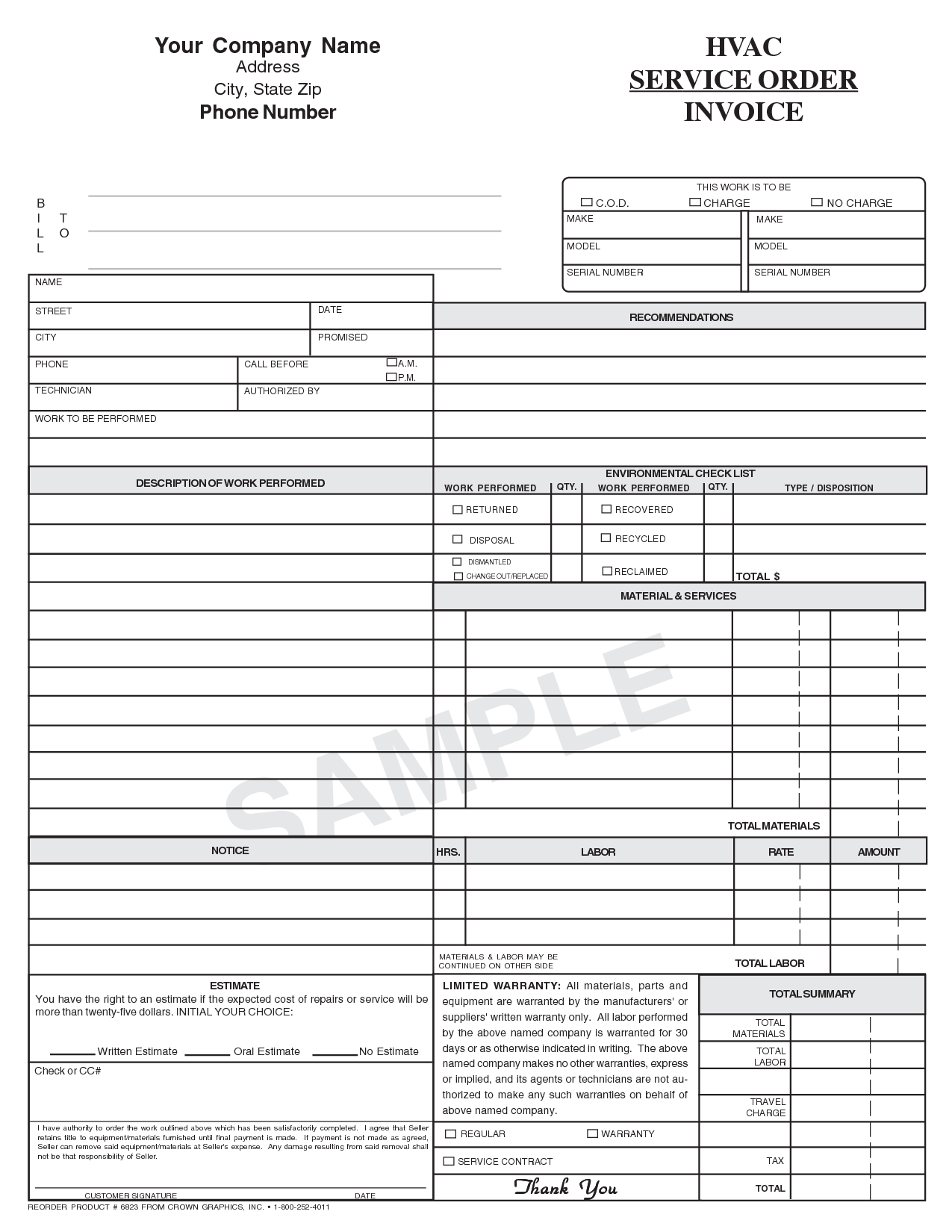 Service Bill Template and Hvac Invoice Template Printable Invoice Template