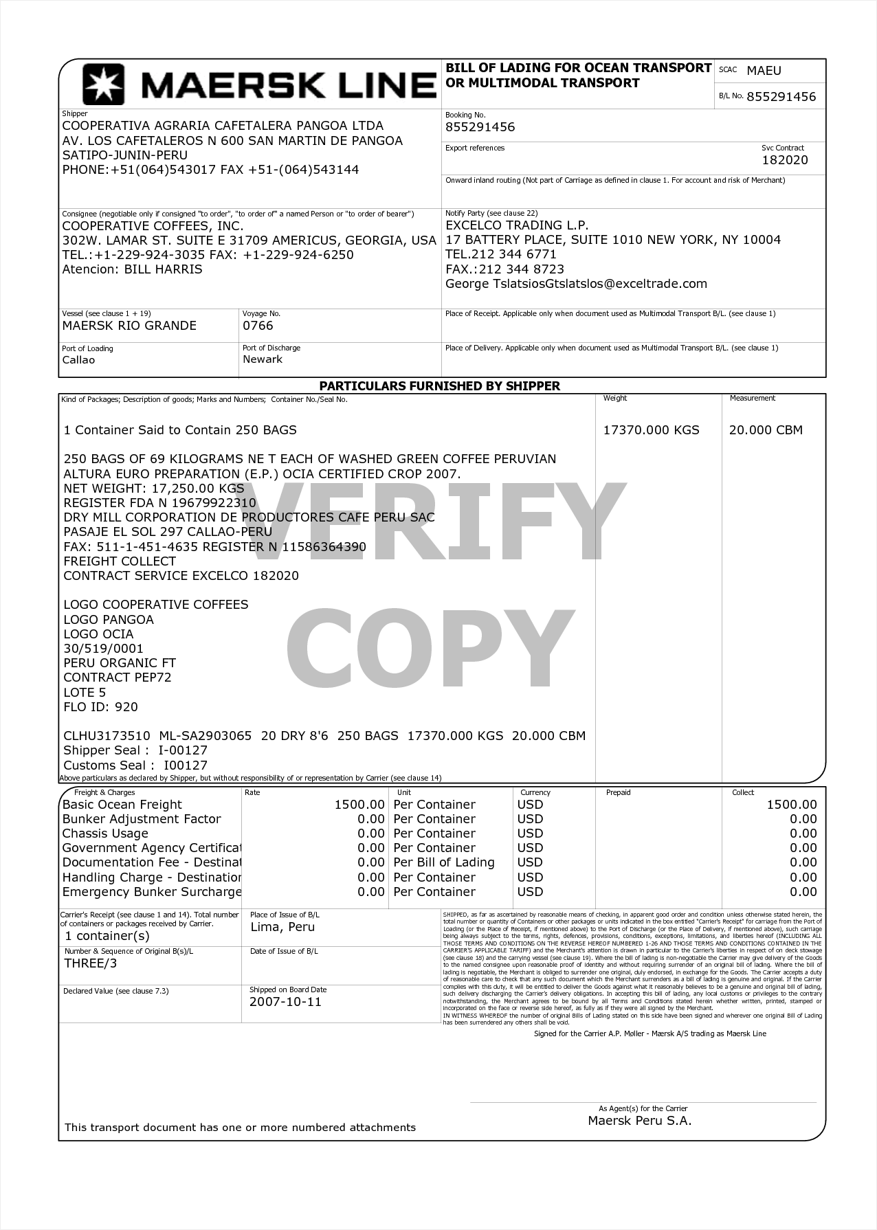 Shipping Bill Of Lading Template and Bill Of Lading Template Example Masir