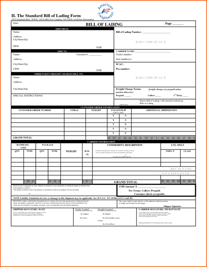 Shipping Bill Of Lading Template and Bill Of Lading Template Excel Selimtd