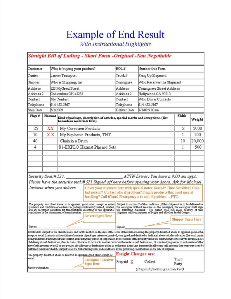 Shipping Bill Of Lading Template and Free Online Bill Of Lading
