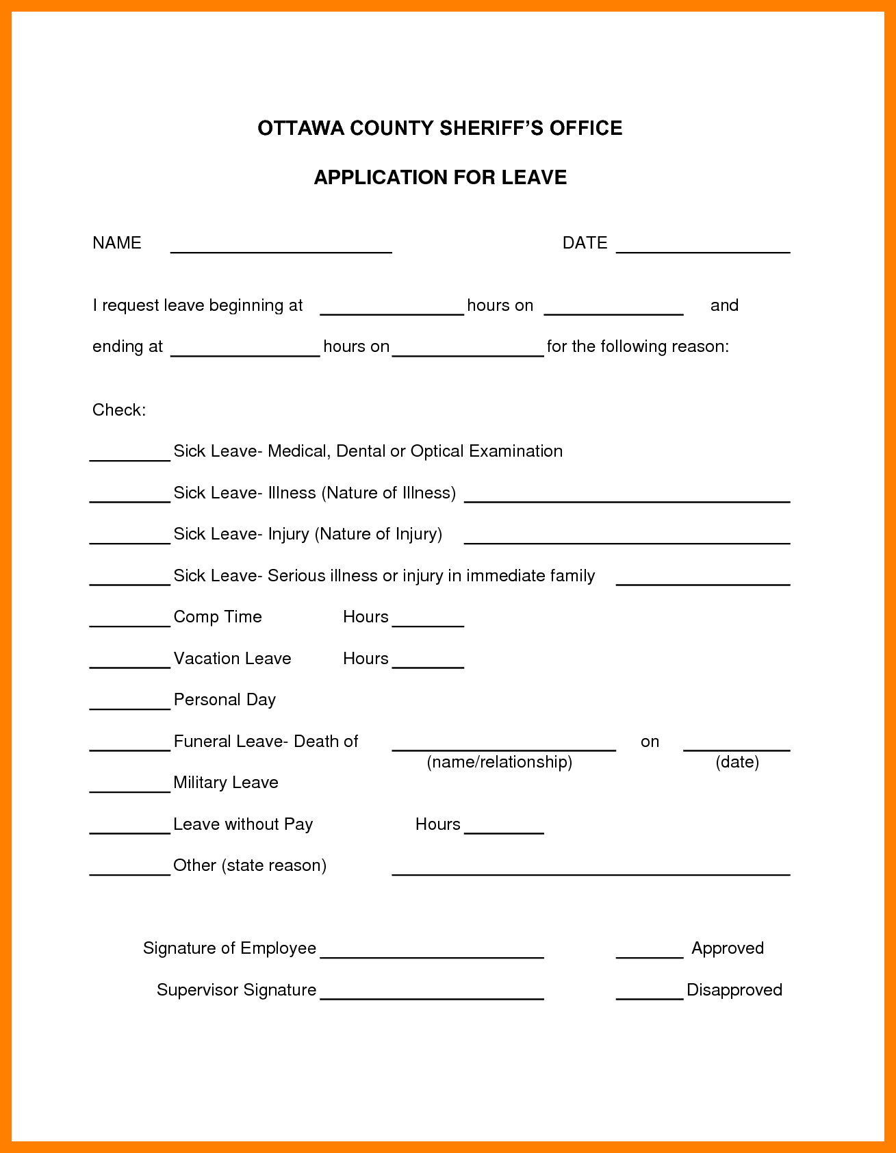 Sick Sheet Sample and 7 Sick Leave forms Template Janitor Resume