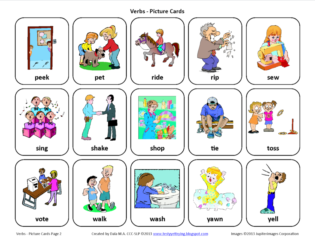 Speech therapy Worksheets for Preschoolers and Testy yet Trying Verbs Free Speech therapy Picture Cards