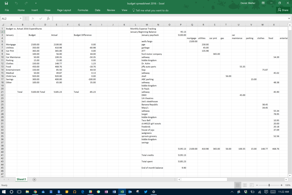 Spreadsheets to Help Manage Money and Microsoft Excel the Spreadsheet Takes Minutes to Maintain