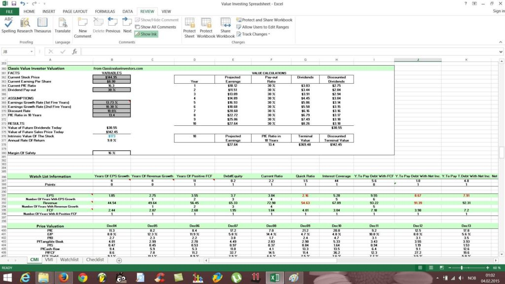 Stock Report Template Excel and Free Value Investing Stock Spreadsheet