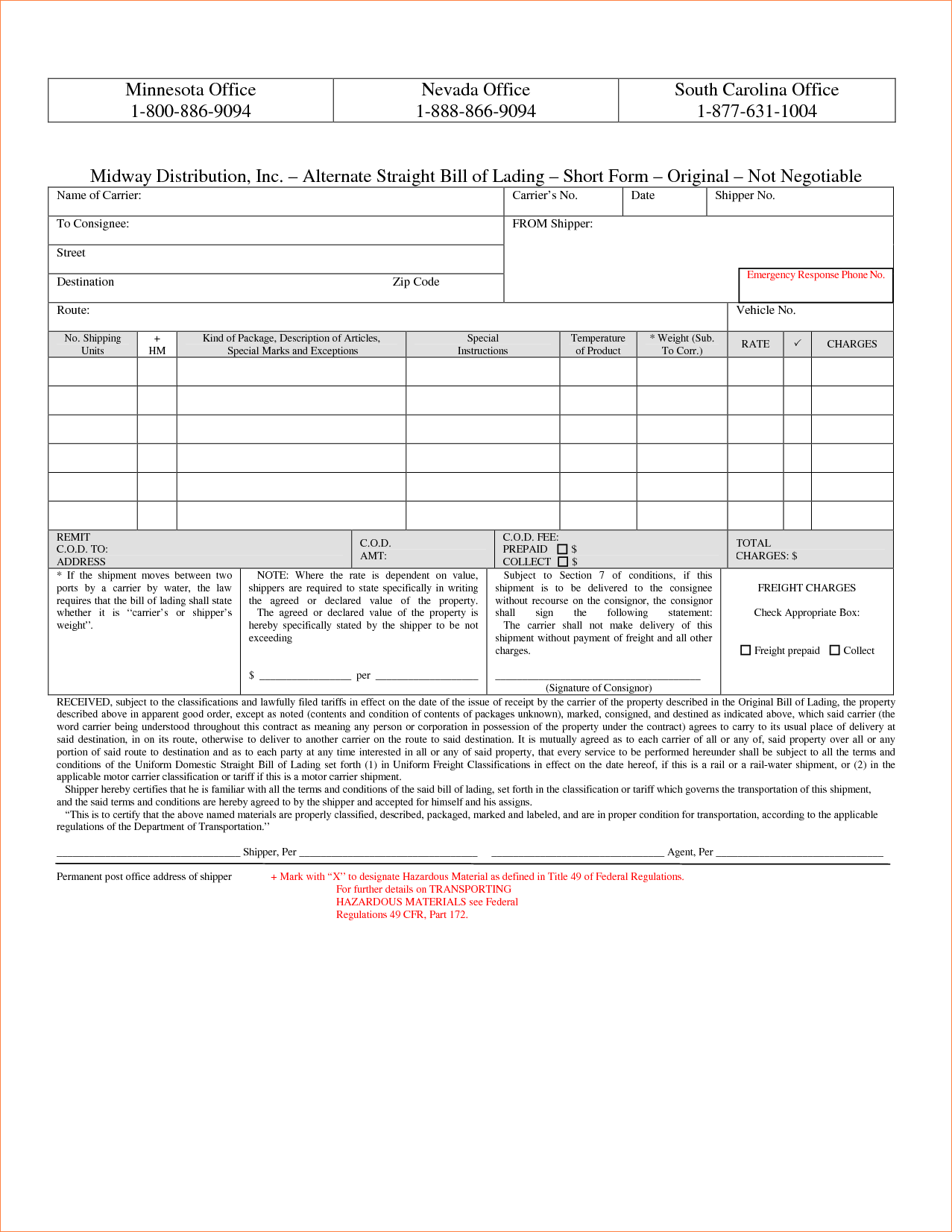 Straight Bill Of Lading Short form Template and 3 Straight Bill Of Lading Short formreport Template Document