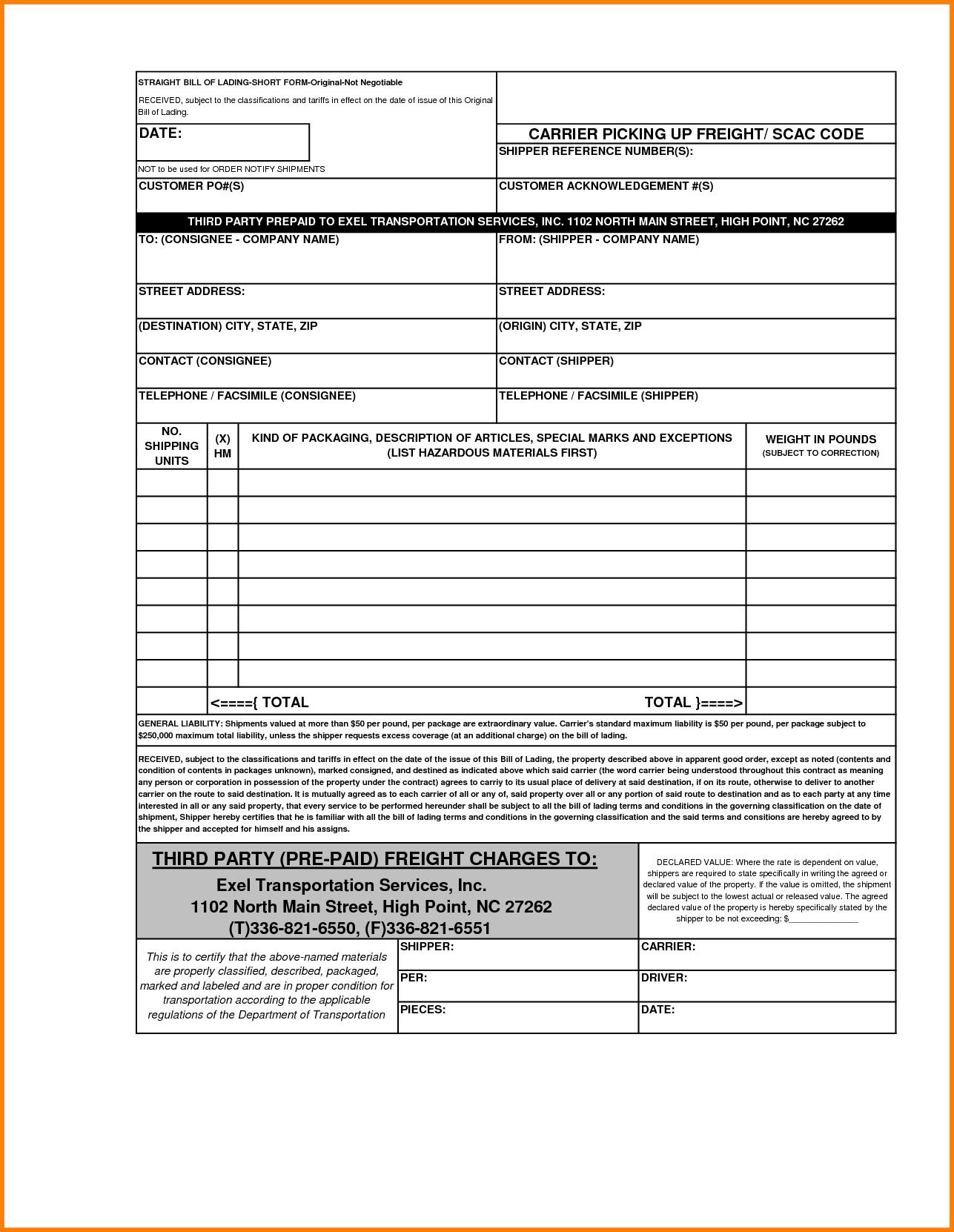 Straight Bill Of Lading Short form Template and 4 Blank Bill Of Lading Short form Template Simple Bill