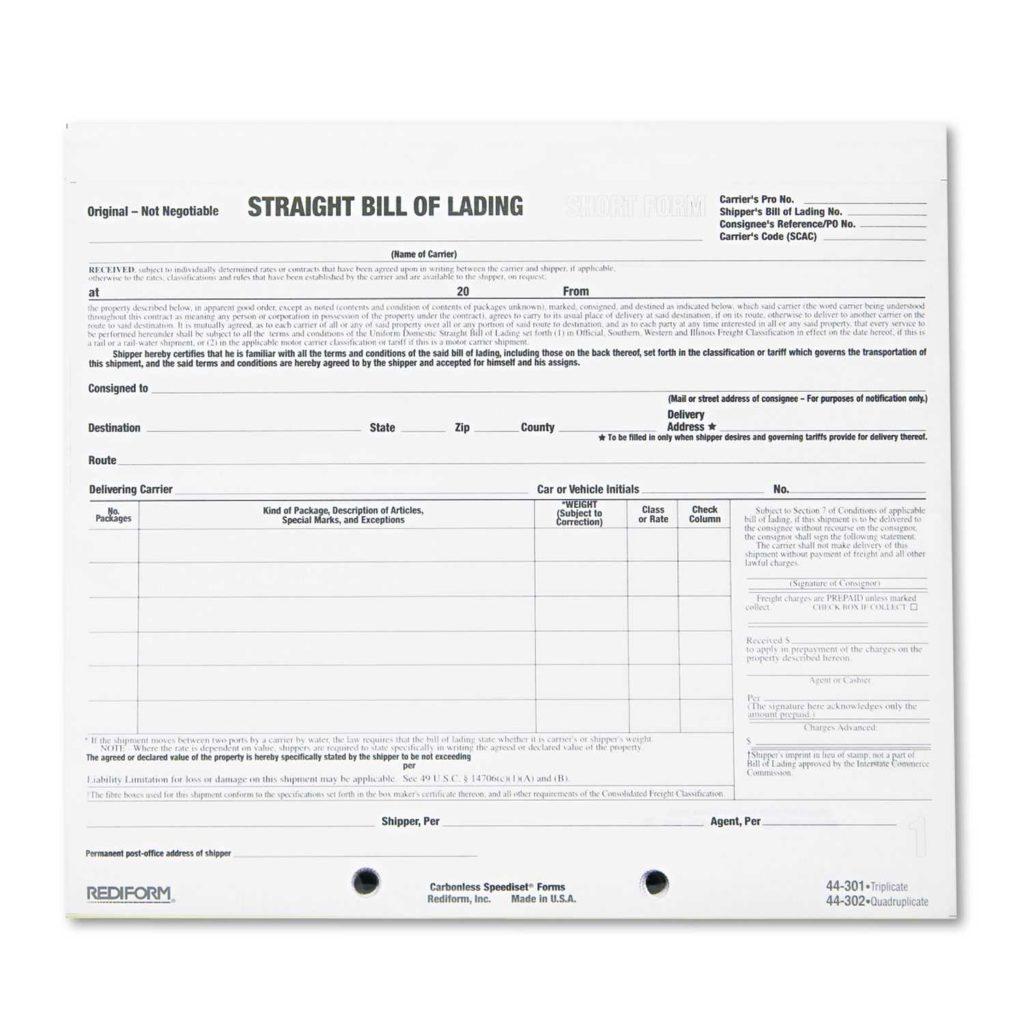 Straight Bill Of Lading Short form Template Free and 10 Best Images Of Bill Of Lading Short form Pdf Straight Bill Of