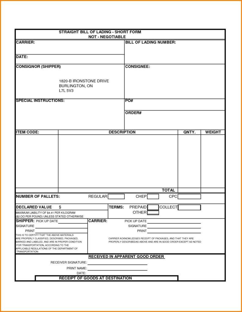 Straight Bill Of Lading Short form Template Free and Straight Bill Of Lading Template Child Development Specialist