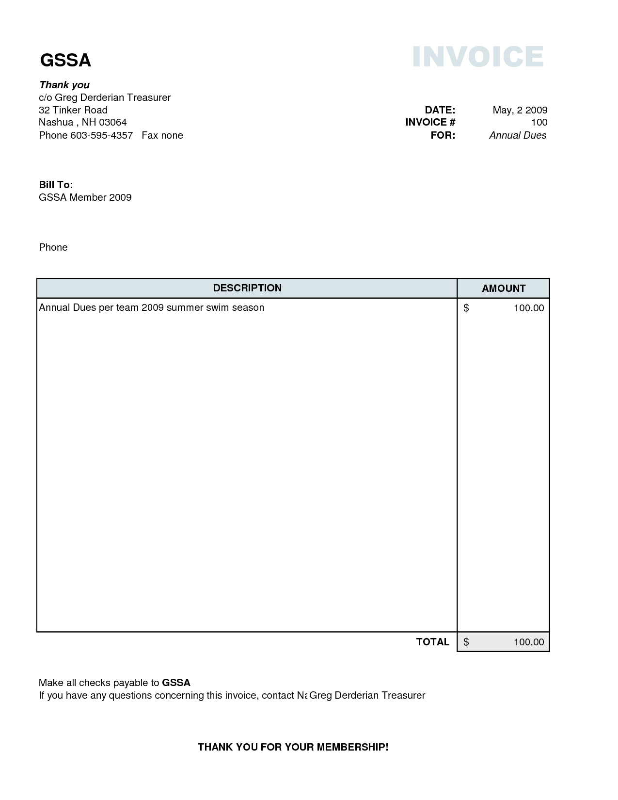 Student Congress Bill Template and Example Invoices