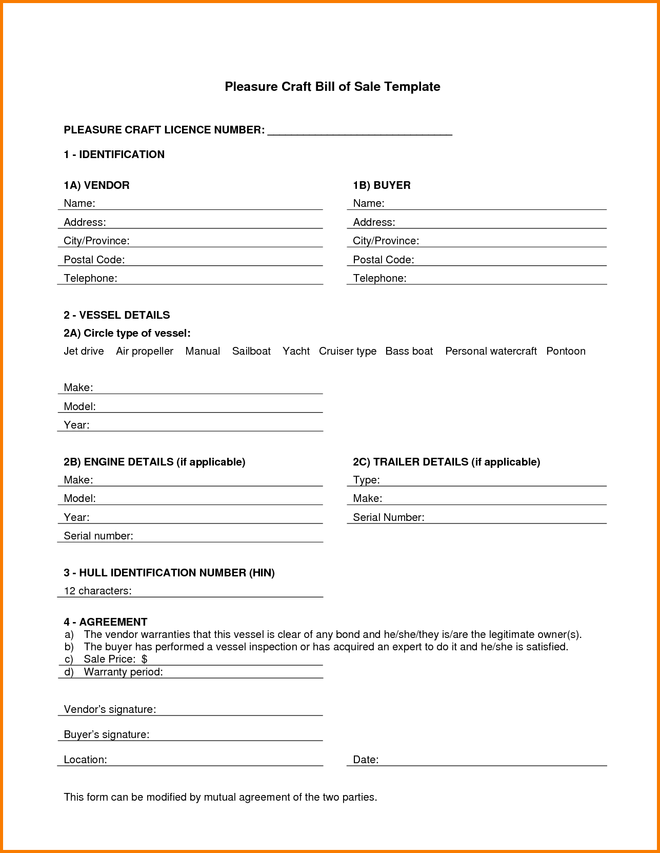 Template for Bill Of Sale for Boat and 7 Boat Bill Of Sale Template Receipt Templates