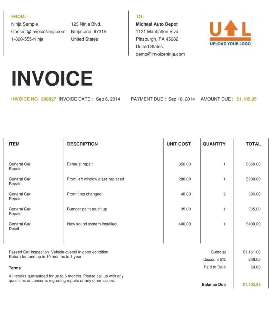 Template for Invoice In Excel and 18 Invoice Templates Excel Pdf formats
