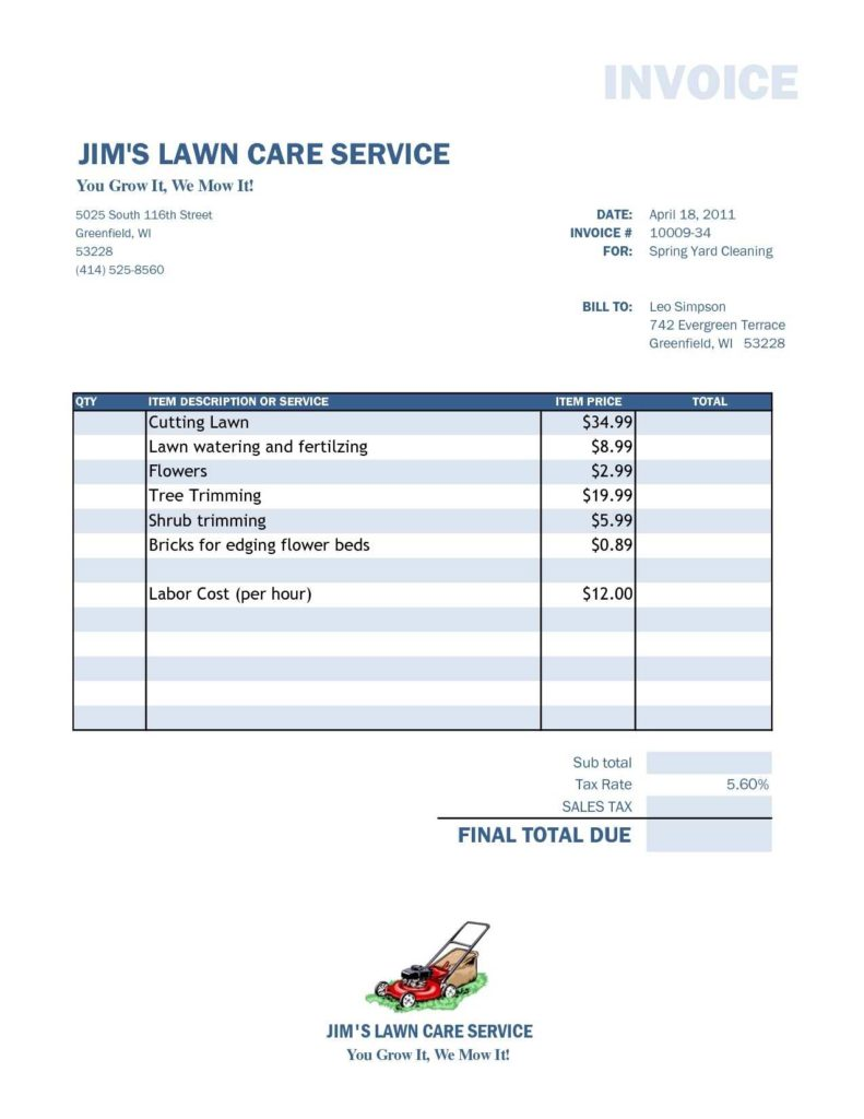 Template for Invoice In Excel and Free Lawn Care Invoice Template Rabitah