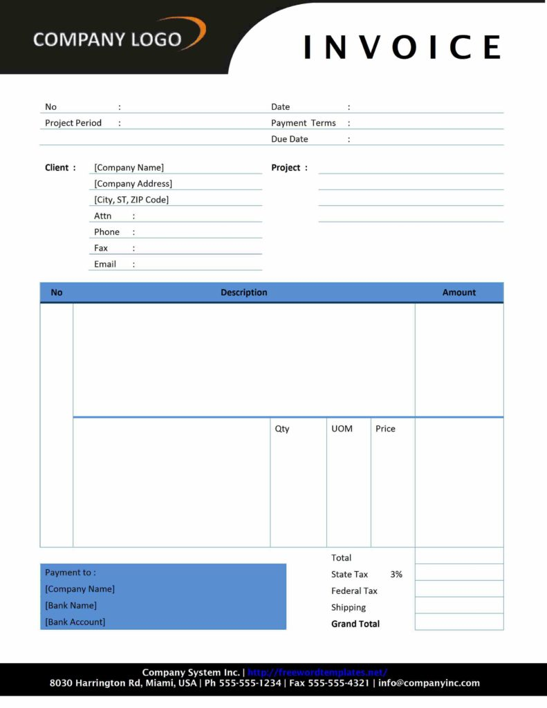 Template Of An Invoice and Invoice Letterhead Freewordtemplates
