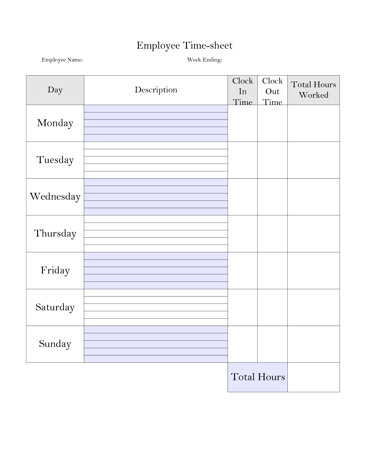 Time Tracking Spreadsheet and Printable Weekly Time Sheet Printable Timecard Time Sheets