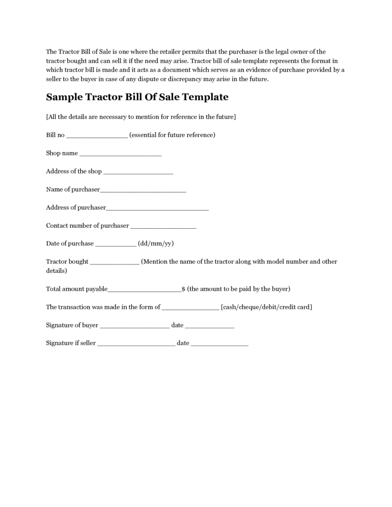Tractor Bill Of Sale Template and Free Printable Tractor Bill Of Sale form Generic