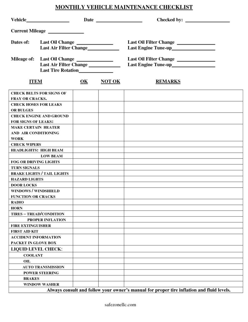 Truck Maintenance Spreadsheet and Vehicle Checklist Template Monthly Vehicle Maintenance Checklist