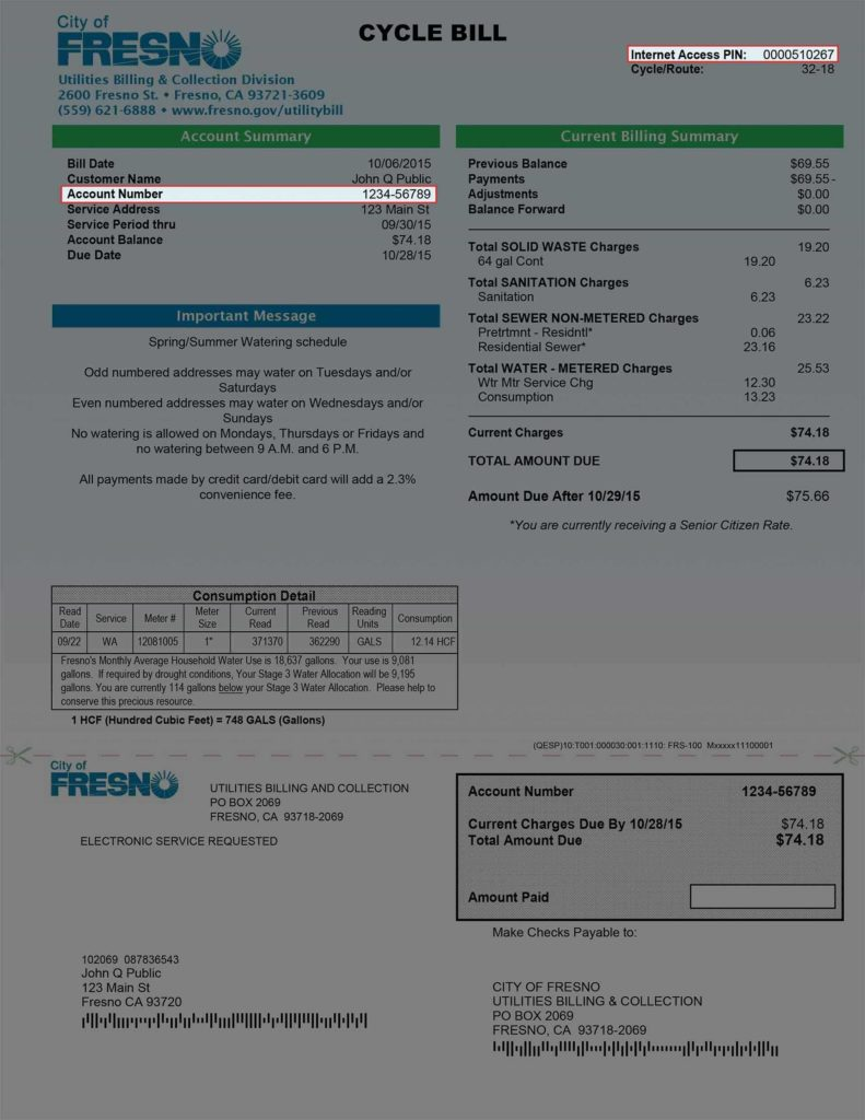 Utility Bill Template and Department Of Public Utilities Utility Billing Payment Fees