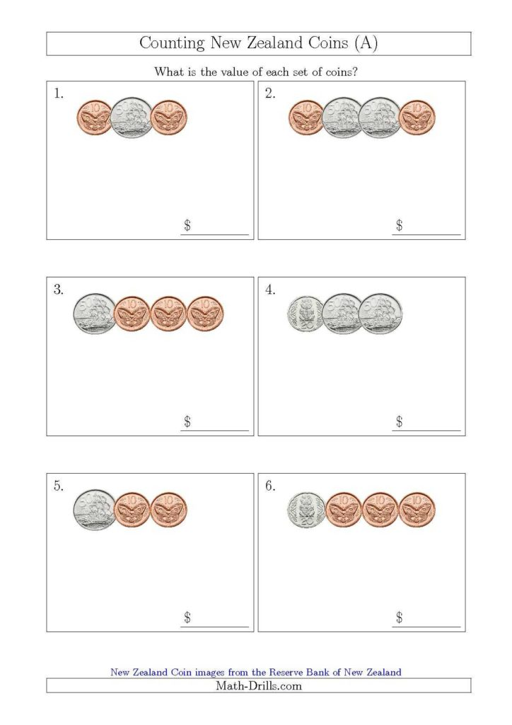 Value Of Coins Worksheet and Counting Small Collections Of New Zealand Coins No Dollars A