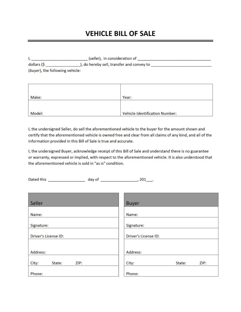 Vehicle Bill Of Sale as is Template and Vehicle Bill Of Sale Freewordtemplates