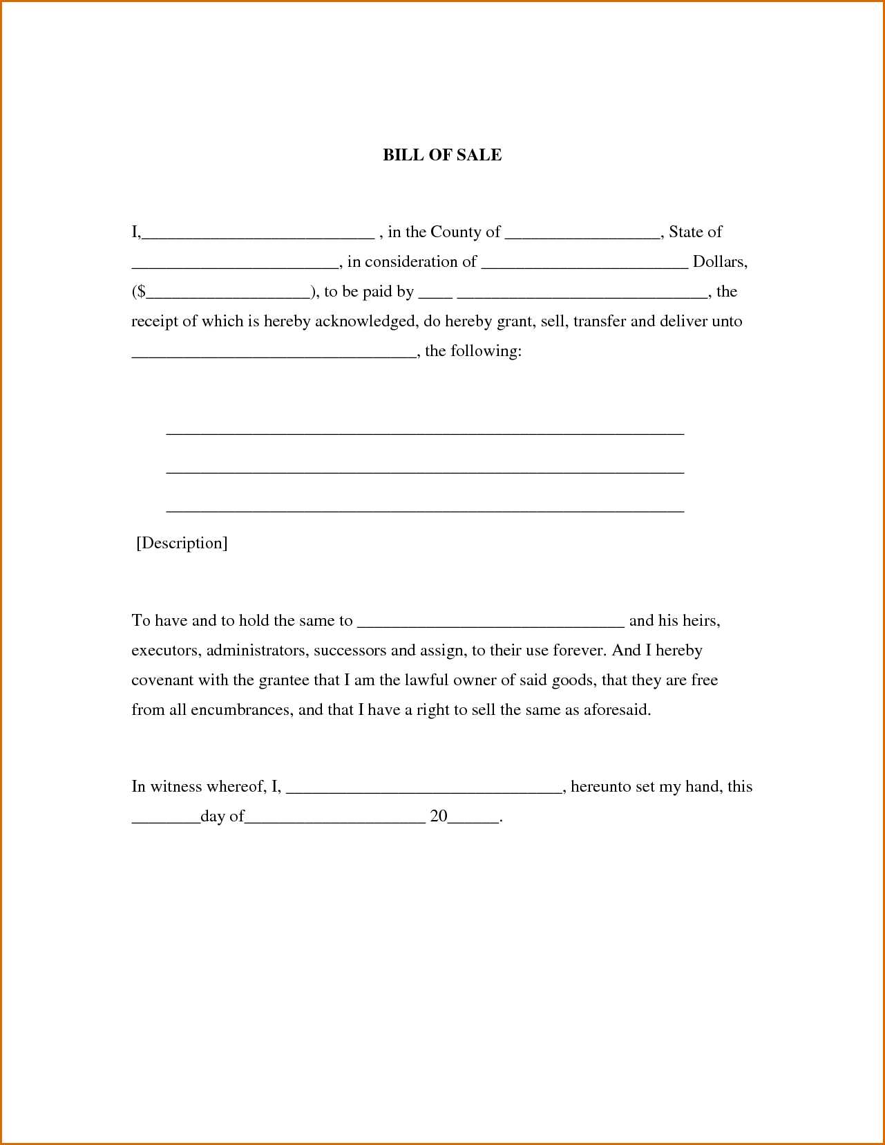 Vehicle Bill Of Sale Word Template and 8 Bill Of Sale Word Template Authorizationletters