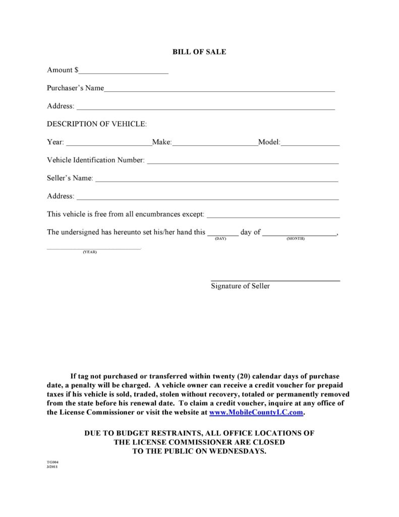 Vehicle Bill Of Sale Word Template and Free Mobile County Alabama Motor Vehicle Bill Of Sale form Tg004