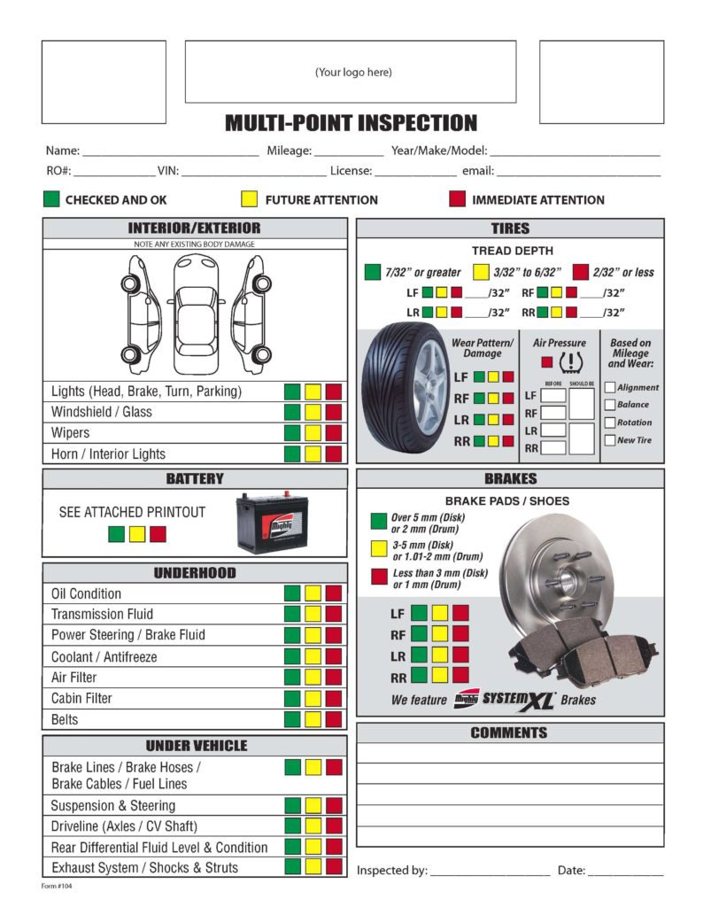 Vehicle Inspection Report Template Download and Free form Mighty Auto Parts