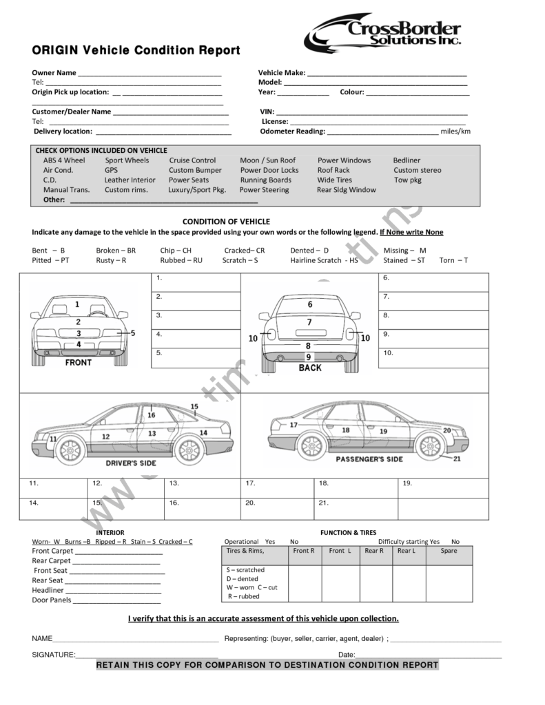 Vehicle Inspection Report Template Free and Vehicle Condition Report Templates Word Excel Samples