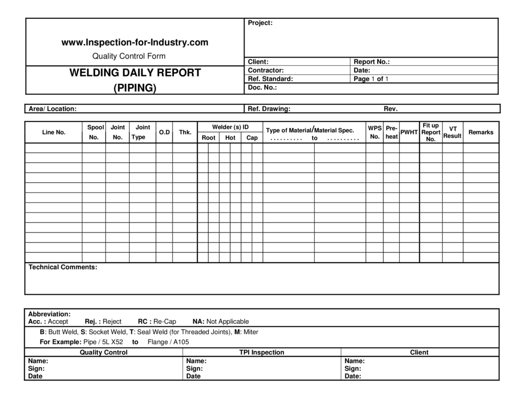 Welding Inspection Report Template and Piping Welding Daily Quality Control and Inspection Report form