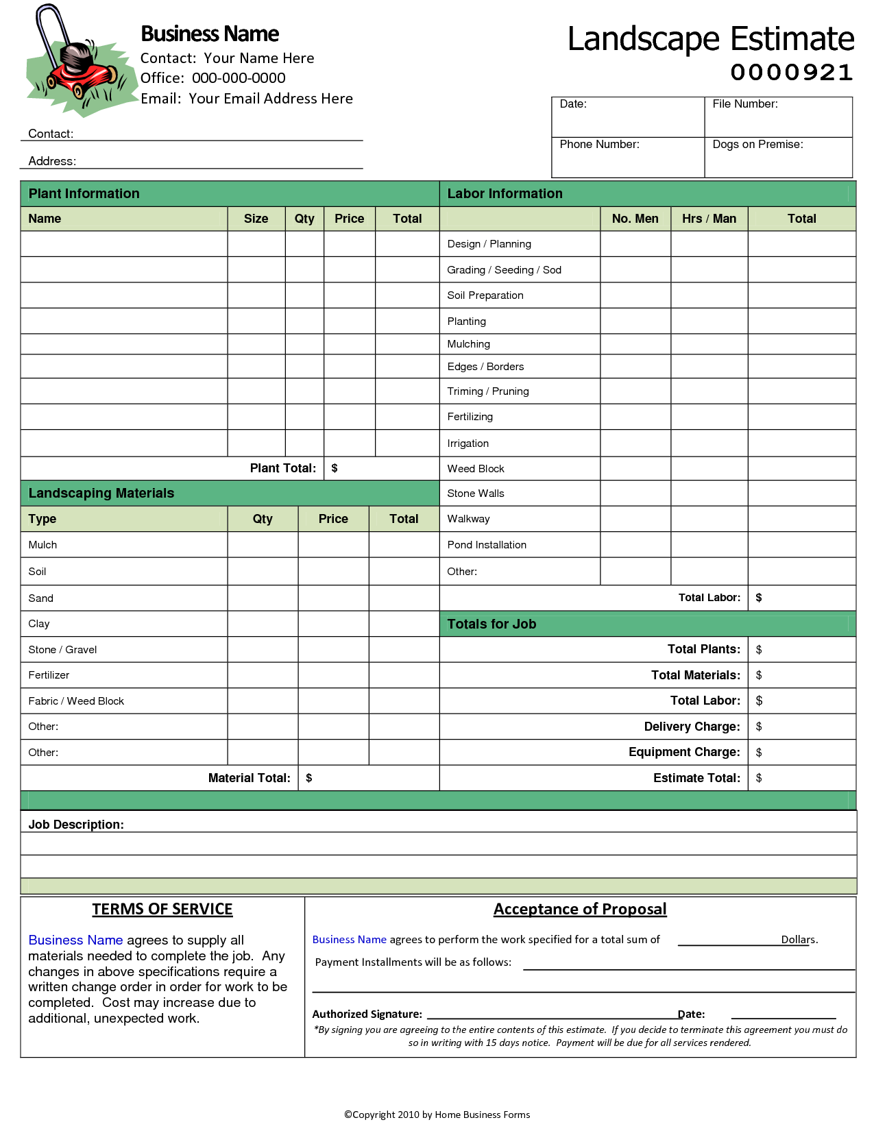 Window Estimate Template and Landscaping Invoice Template Word Invoice Example