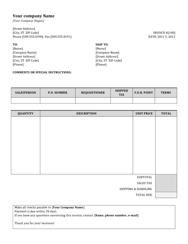 Word Document Invoice Template Free and Invoice Sample Doc Invoice Example