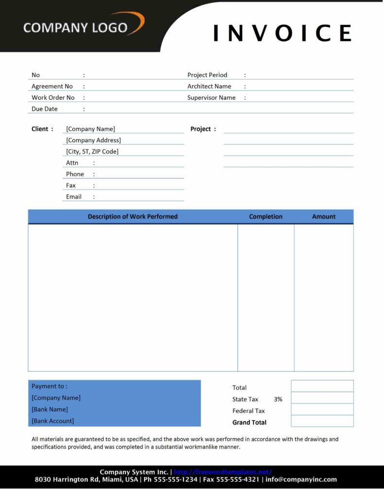 Word Document Invoice Template Free and Invoice Template Word Doc Invoice Example