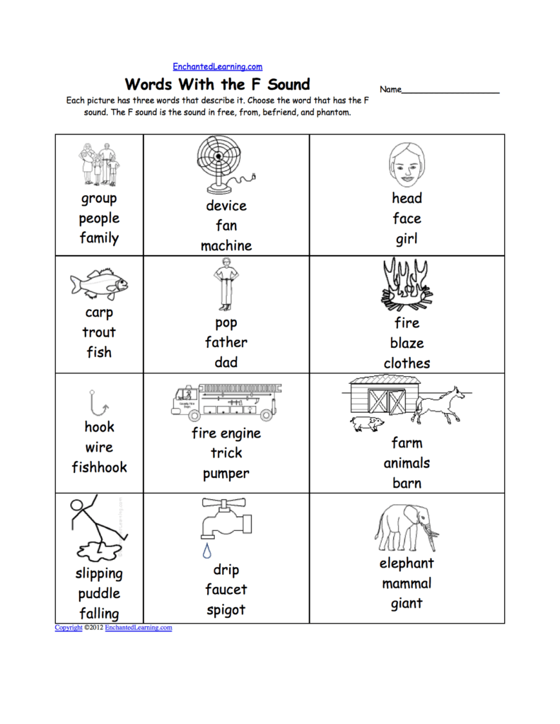 Worksheet On Phonics for Kindergarten and Letter F Alphabet Activities at Enchantedlearning