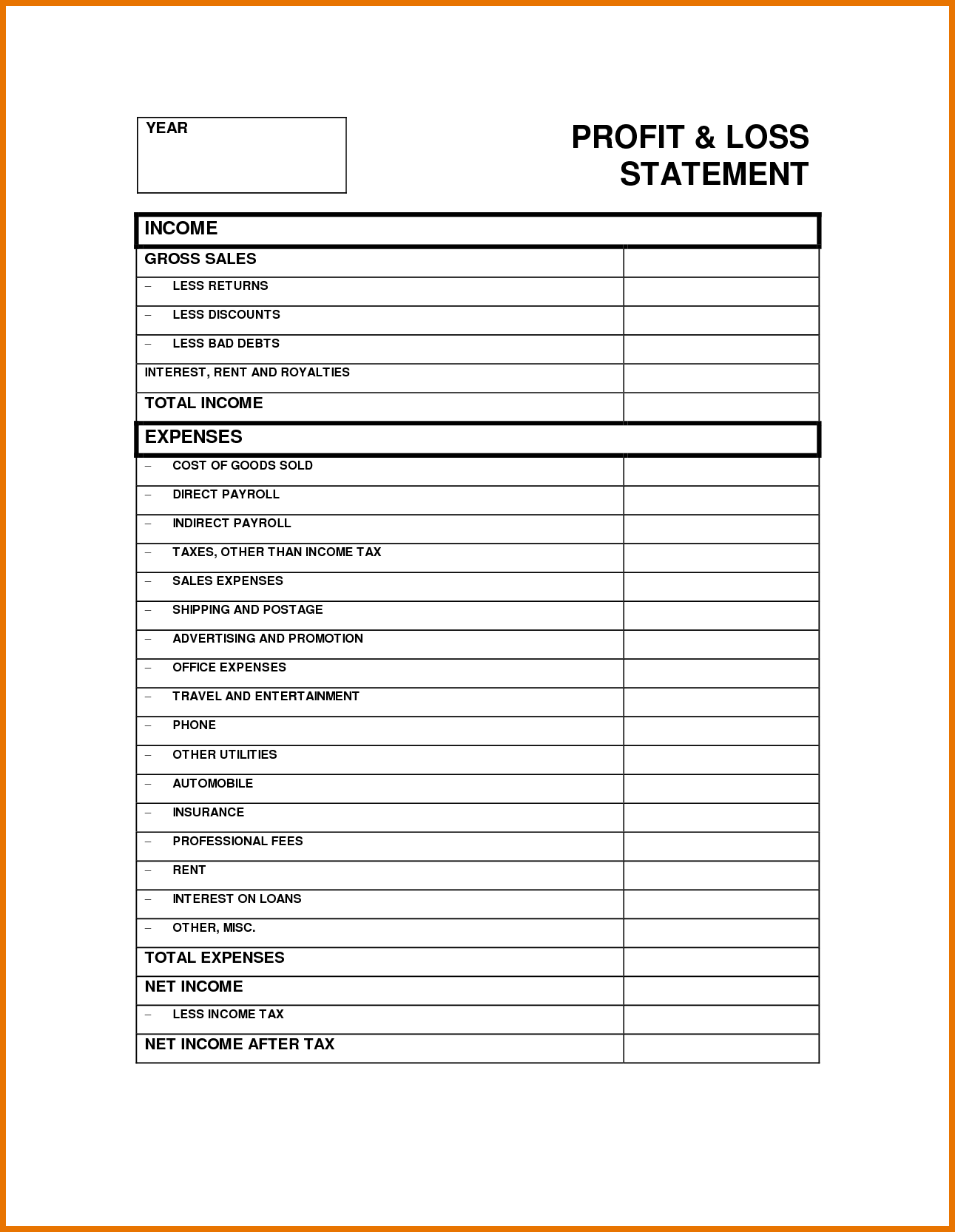 Year to Date Profit and Loss Statement Free Template and 6 Profit Loss Statement Template Itinerary Template Sample