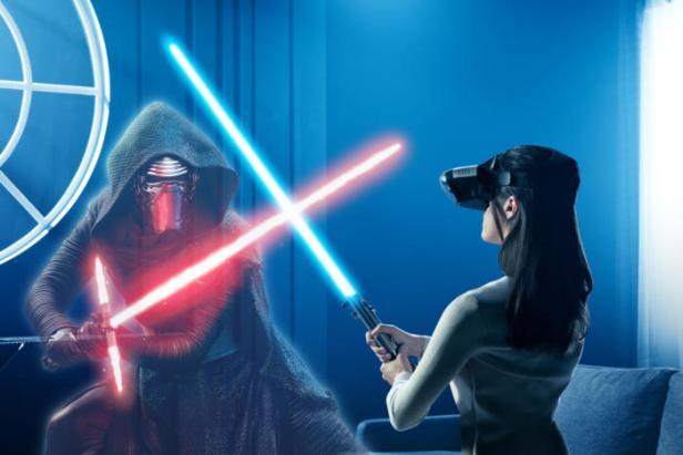 Jedi Challenges: lightsaber-swinging, augmented reality fun