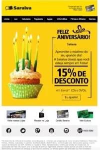 E-mail marketing de aniversário da Saraiva
