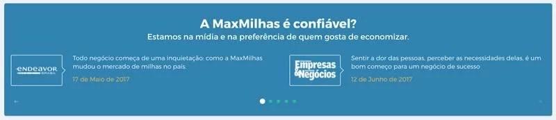Logo e frases da imprensa sobre a MaxMilhas