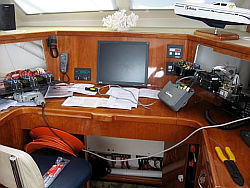 Nav station during AIS install on Tahina