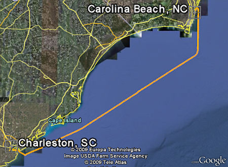 Charleston to Carolina Beach Track in Google Earth