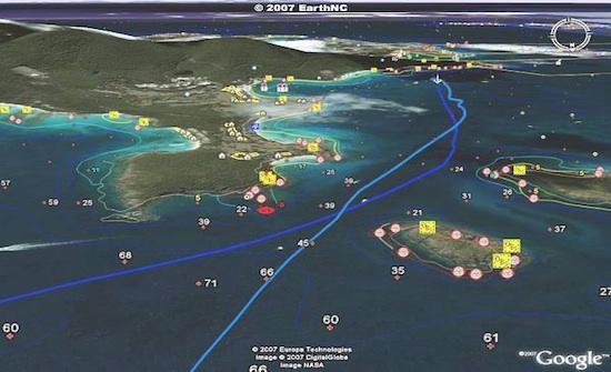 Screenshot of Google Earth, nautical charts and EarthNC