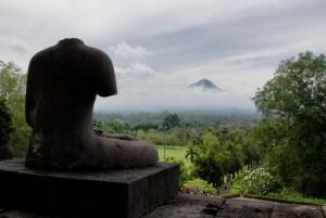 Statue and Merapi