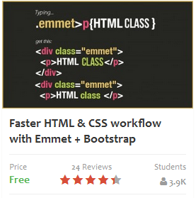 Faster HTML & CSS workflow with Emmet + Bootstrap Video Course Udemy