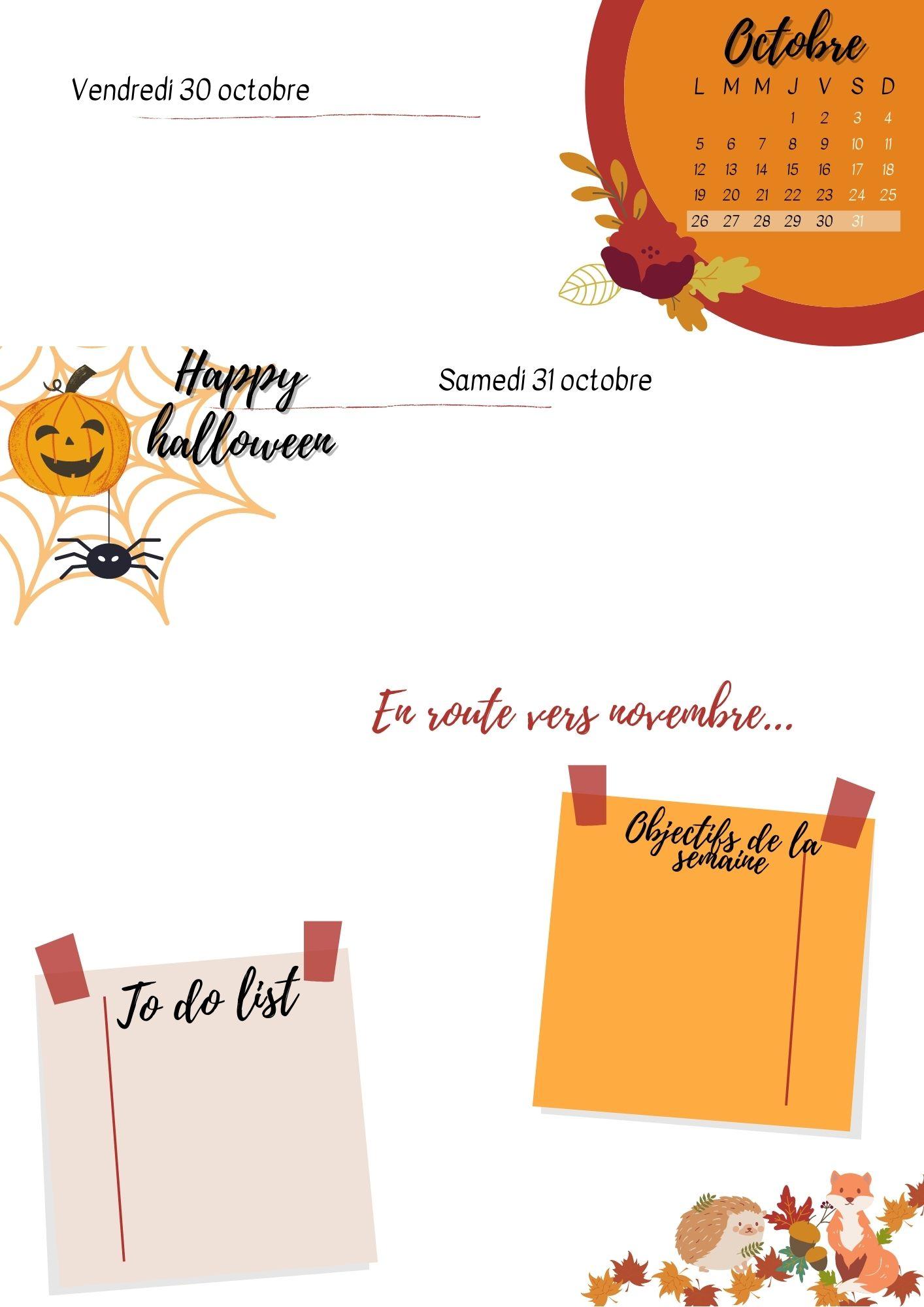 Bullet journal d'automne