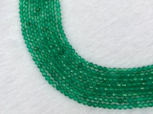 """15.5"""" Faceted Round Green Agate Bead Strand – Per String"""