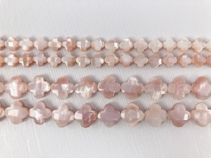 """16"""" Doublet Faceted Cross Floral Pink MOP Bead Strand - Per String"""