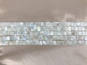 "16"" Single Rectangle White MOP Bead Strand - Per Strand"