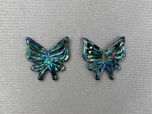 Carved Butterfly Abalone Shell Loose Piece - Per Pair