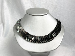 Coin Beads Black MOP Necklace