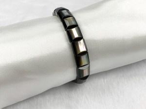 Faceted Square Beads Black MOP Bracelet